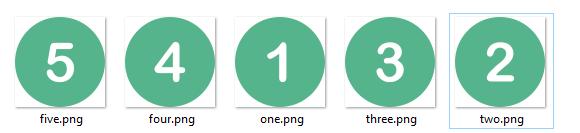 пять файлов с картинками формата png