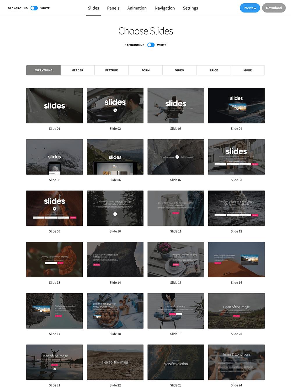 различные блоки на slides
