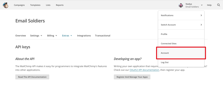 Как получить API-ключ MailChimp