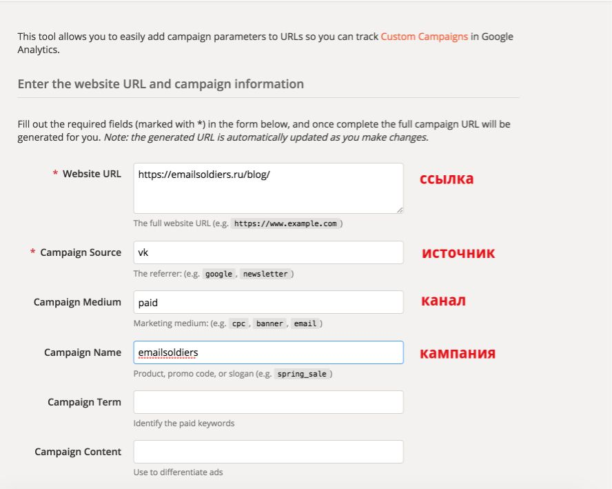 пример проставления utm меток в Google Analytics