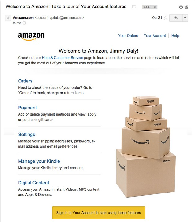 Обзор EmailSoldiers: Приветственное письмо Amazon