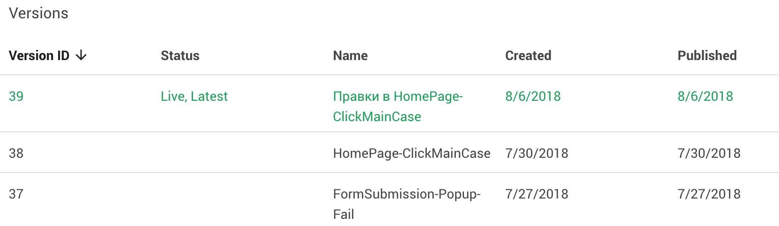 описание версий в Google Tag Manager