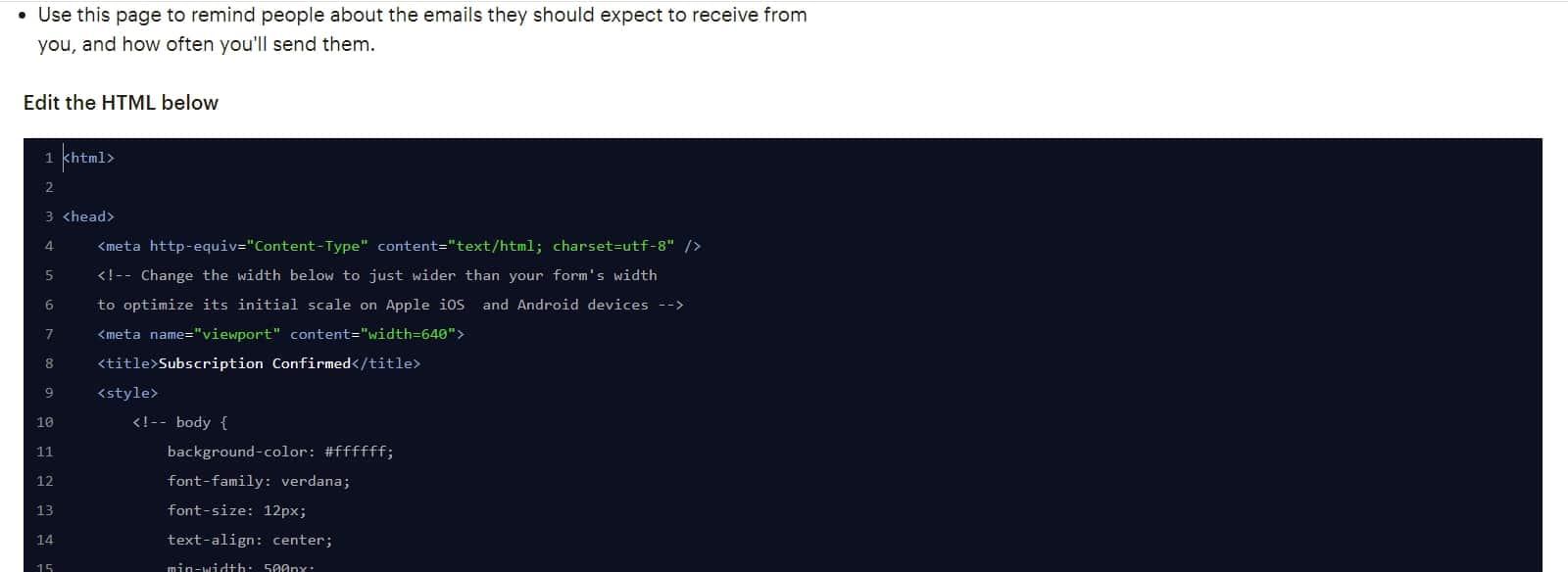 Добавляем ссылку вкод в MailChimp