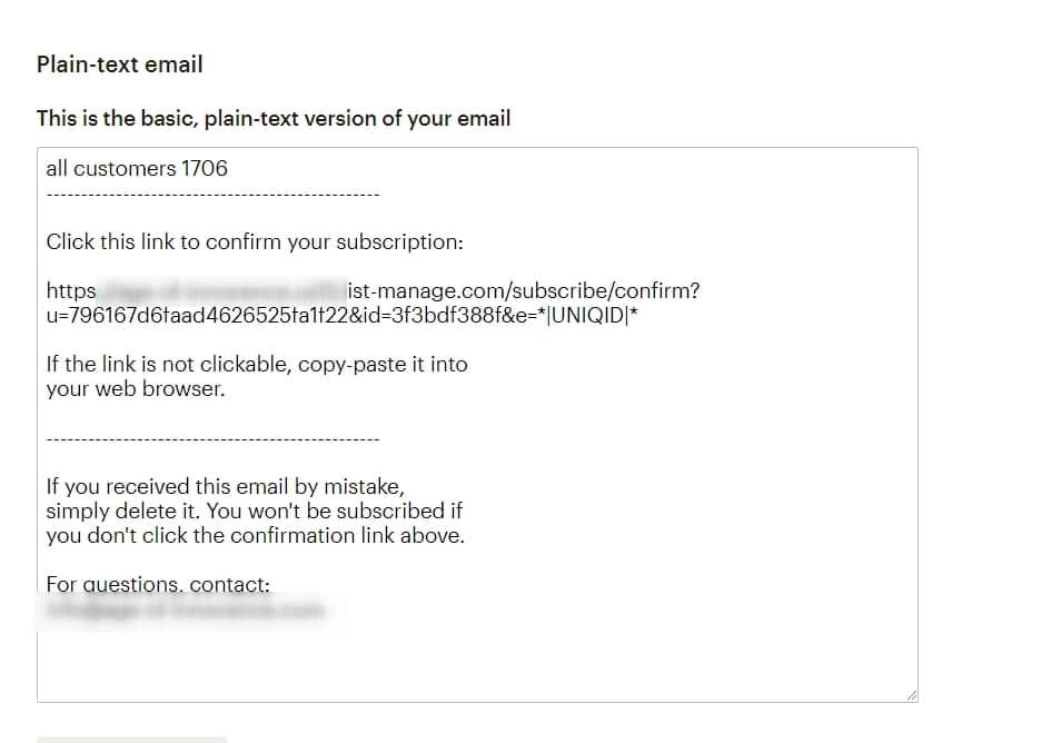 Настраиваем текстовую версию письма в MailChimp