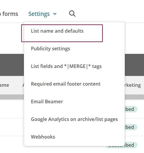 Подтверждение подписки в MailChimp