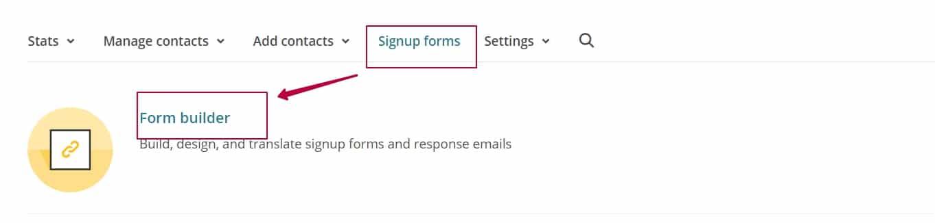 Раздел Singup Forms в MailChimp