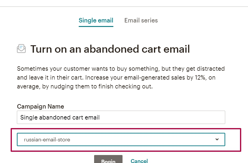 Настройка письма для Abandoned Cart Email