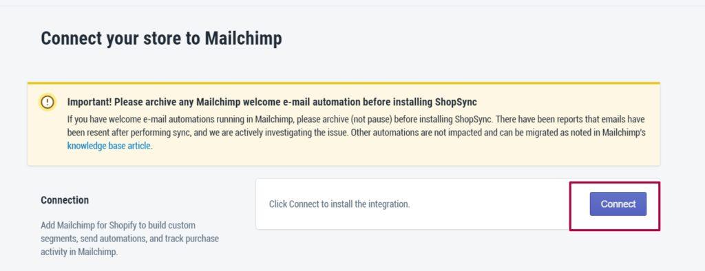 Подключение MailChimp к Shopify