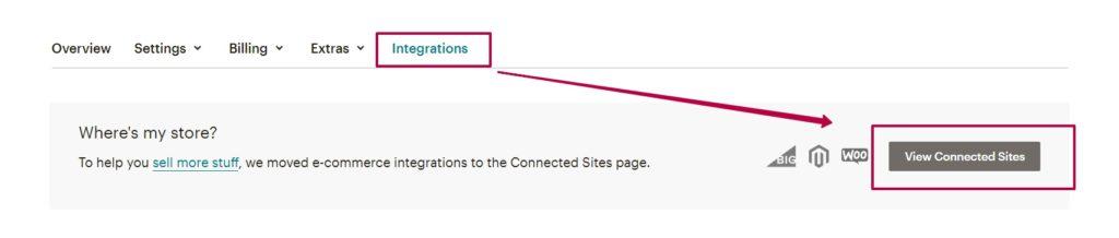 Поиск сайта при интеграции Shopify и MailChimp