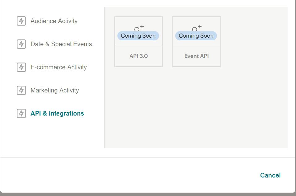 Customer Journey Map в MailChimp будущие опции для интеграций и API