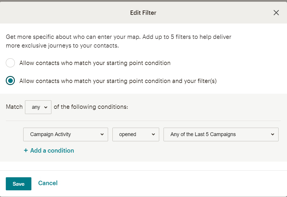 Customer Journey Map в MailChimp дополнительные условия для сегментации