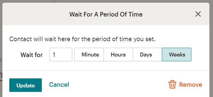 Customer Journey Map в MailChimp ожидание перед следующим действием