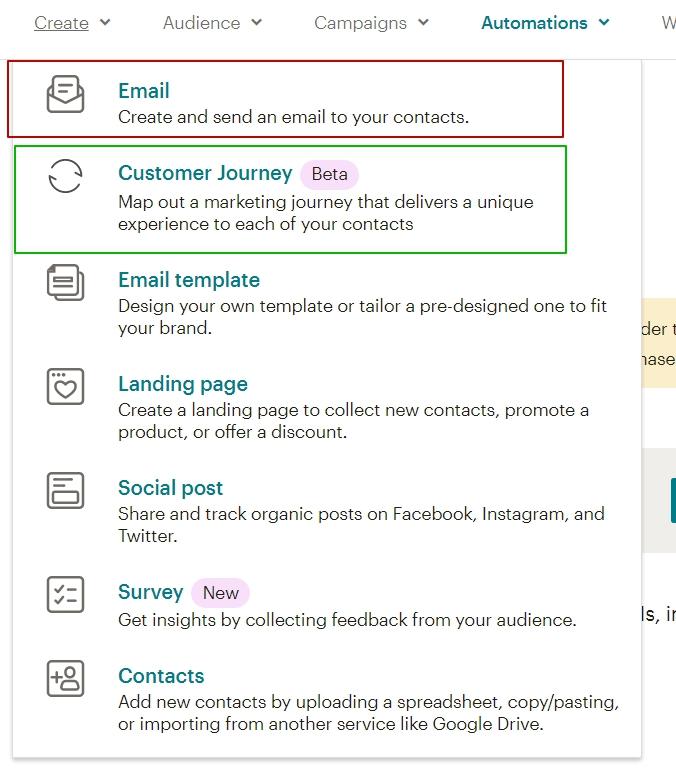 Customer Journey Map в MailChimp начало создания карты