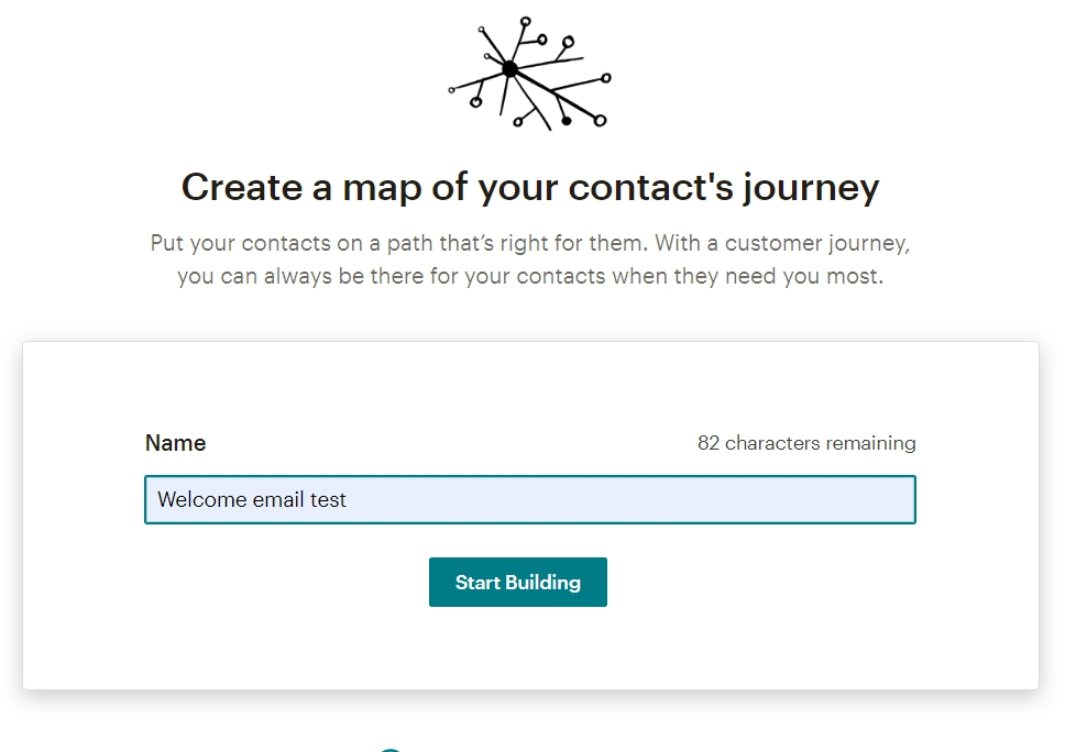 Customer Journey Map в MailChimp задаём имя автоматизации