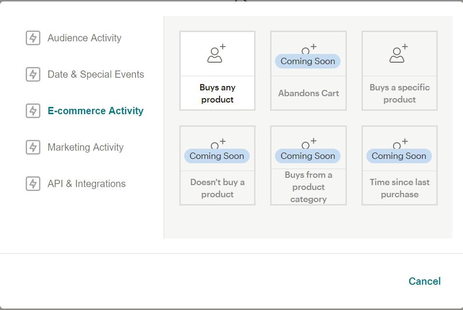 Customer Journey Map в MailChimp доступные опции
