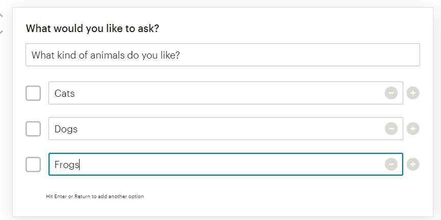 выбор нескольких вариантов в опросах mailchimp
