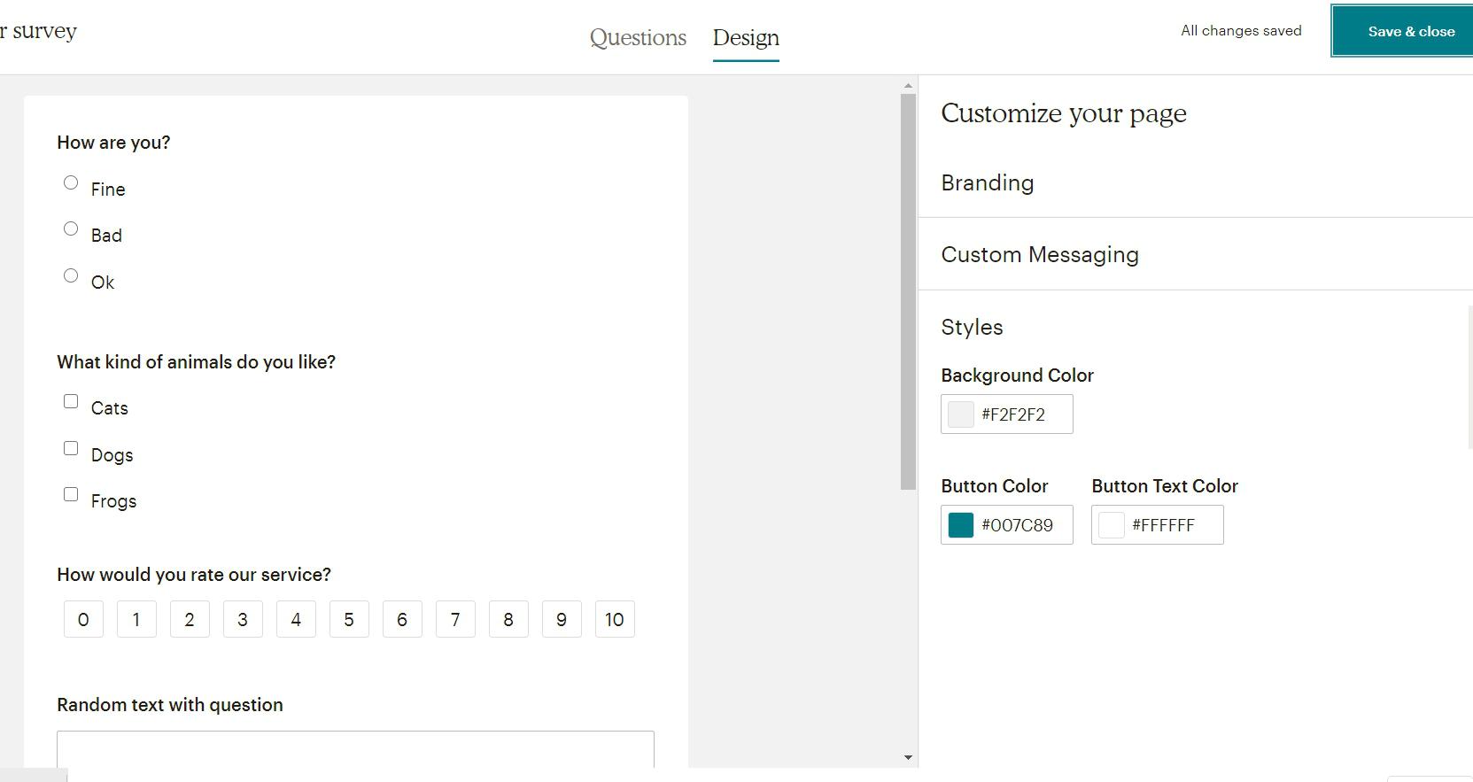 настройка дизайна в опросах mailchimp