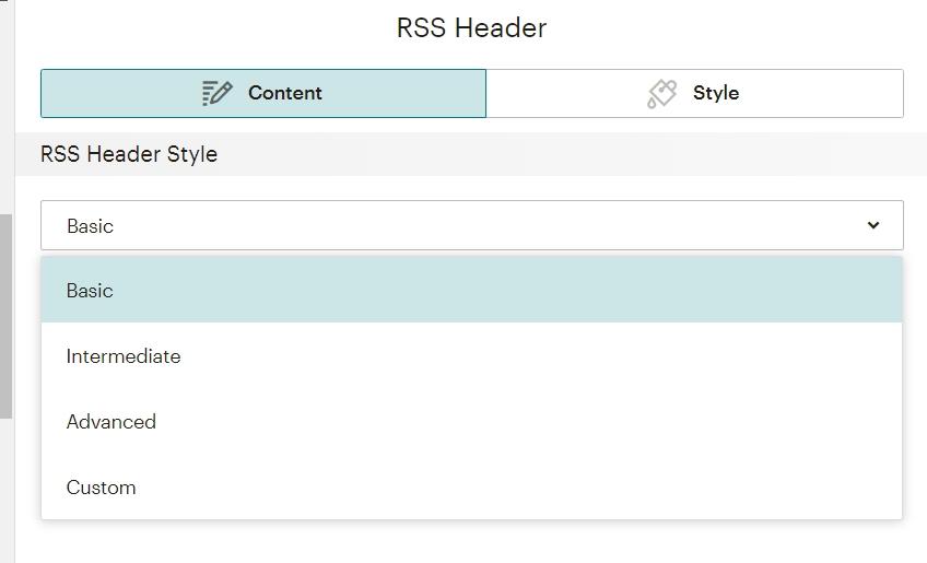 меню для блока RSS Header