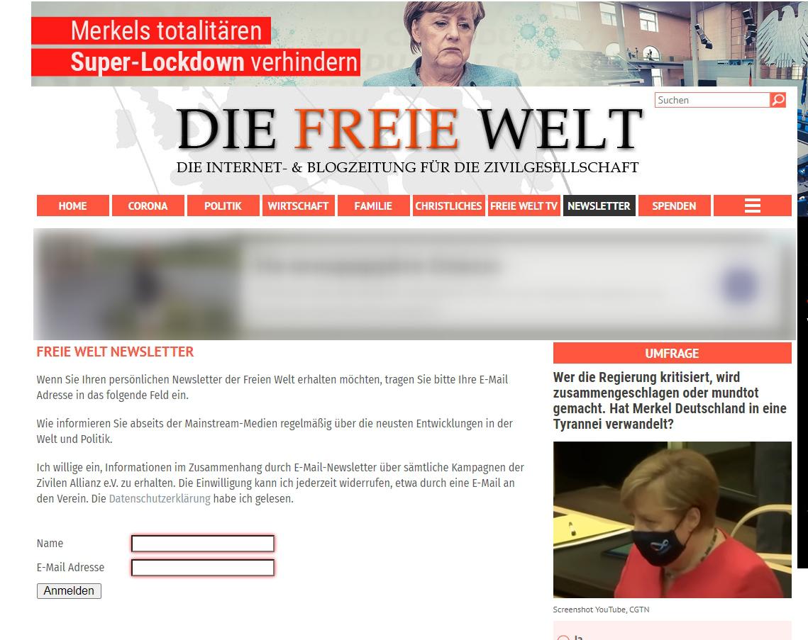 форма подписки на политические рассылки германии